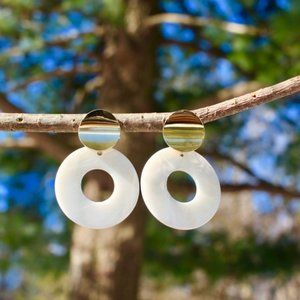 New White Circle Tortoise Shell Dangle Earrings